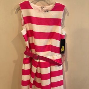 NWT Leslie Fay Hot Pink & White Fit & Flare Dress